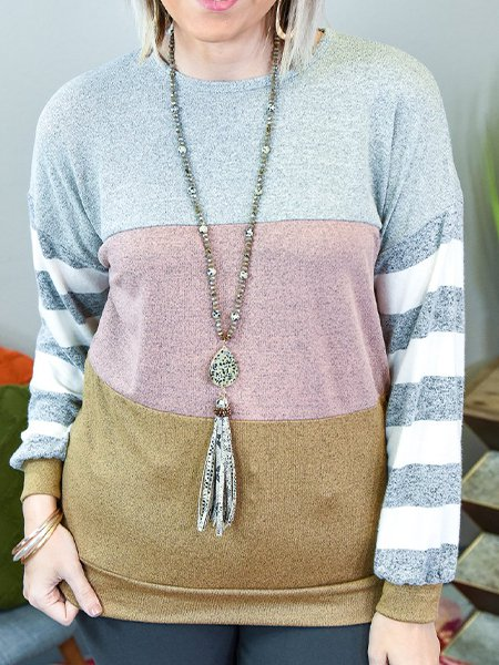 Light Grey Long Sleeve Stripes Cotton-Blend Shirts & Tops