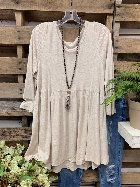 Casual Round Neck Long Sleeve Baby Doll Tops