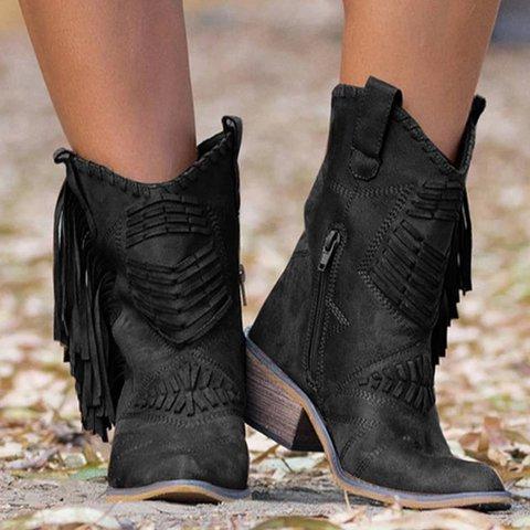 Faux Suede Winter Tassel Boots