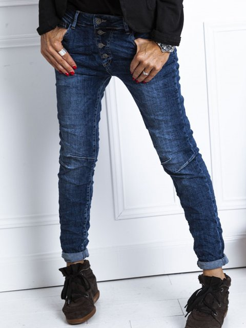 Blue Casual Buttoned Shift Pants