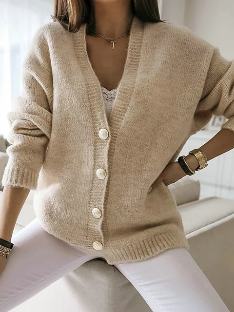 Solid Colored Long SleeveV Neck  Sweater Cardigans