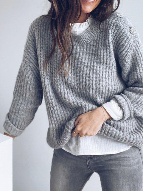Women's Gray Casual Long Sleeve Crew Neck Sweater