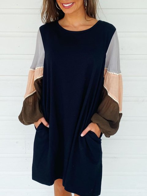 Black Casual Balloon Sleeve Dresses