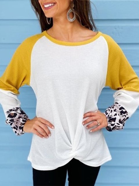 White Casual Cotton-Blend Leopard Shirts & Tops