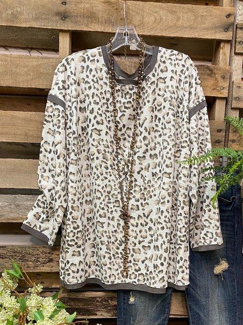 Leopard Print Crew Neck Long Sleeves T-shirt