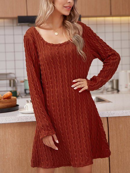 Coral Orange Casual Cotton-Blend Long Sleeve Dresses