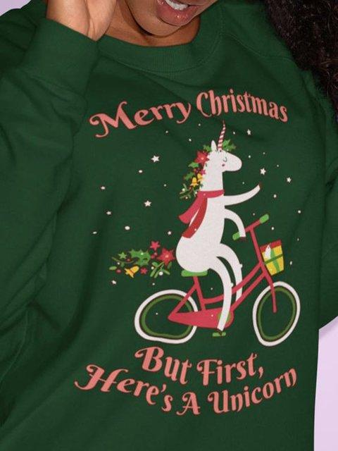 Merry Chritmas Green Printed Cotton-Blend Casual Crew Neck Sweatshirt