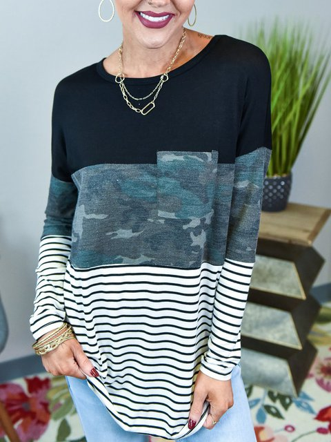 Black Cotton-Blend Stripes Shirts & Tops