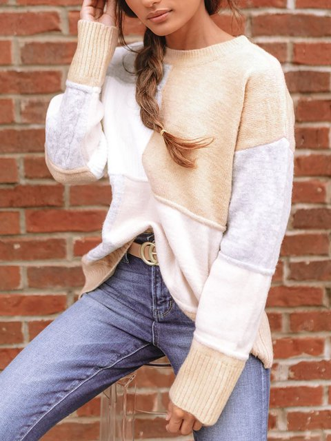Contrast Color Stitching Casual Crew Neck Long Sleeve Sweater