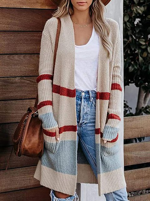 Striped Stitching Pocket Knitted Cardigan Coat