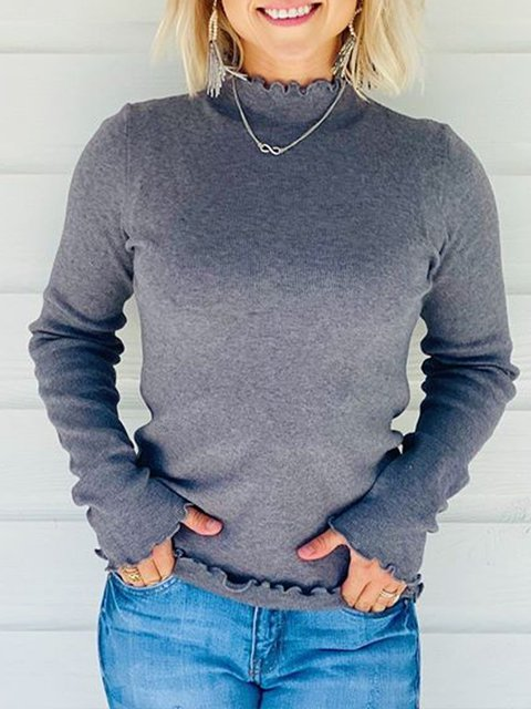 Gray Plain Cotton-Blend Casual Long Sleeve Shirts & Tops