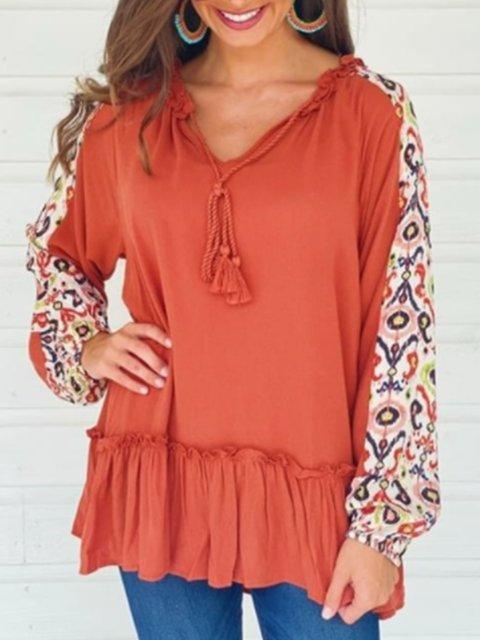 Orange Cotton Casual A-Line Leopard Shirts & Tops