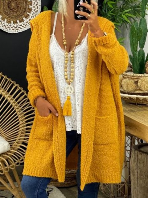 Yellow Cotton Long Sleeve Sweater