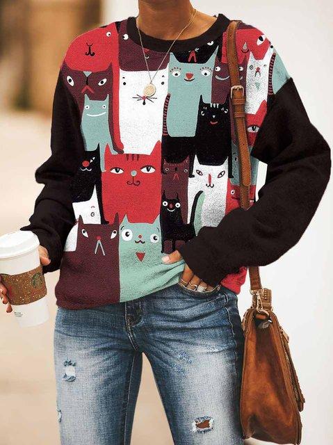 Cat Print Round Neck Casual Sweatshirt