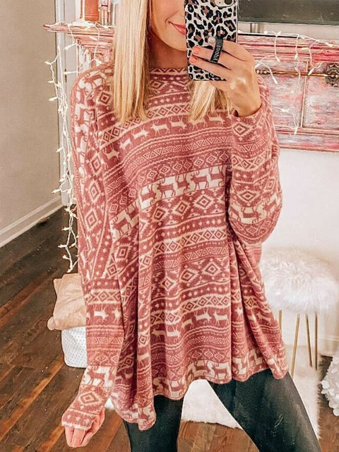 Pink Long Sleeve A-Line Cotton Shirts & Tops