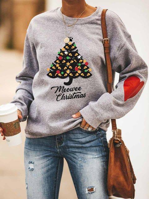 Meowee Christmas Cat Red Heart Print Sweatshirt