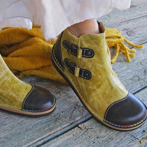 Yellow Leather Daily Flat Heel Winter Boots