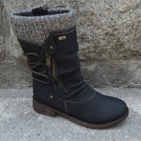 Black Pu Winter Daily Split Joint Boots
