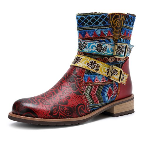 Red Printed Pu Daily Winter Boots