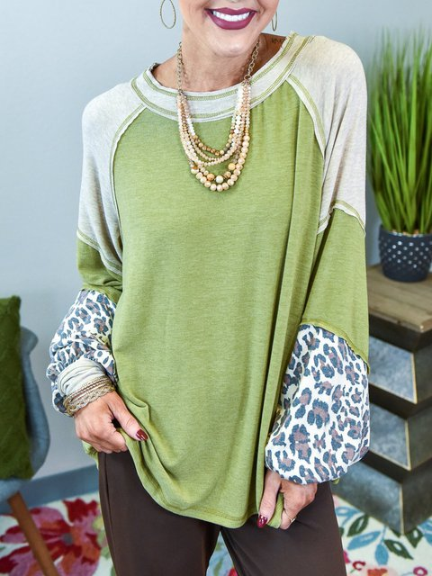 Green Shift Casual Cotton-Blend Scoop Neckline Shirts & Tops
