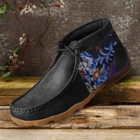 Black Winter Daily Split Joint Microfiber Leather Boots
