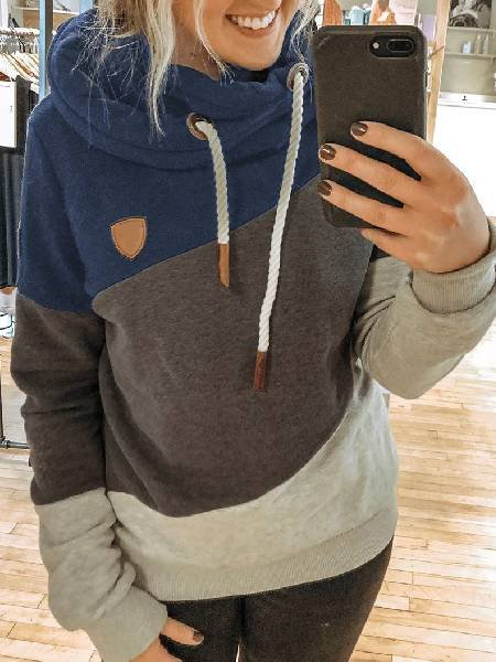 Grey-Blue Color-Block Hoodie Long Sleeve Shirts & Tops