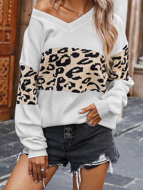 Long Sleeve Casual Crew Neck Acrylic Sweater