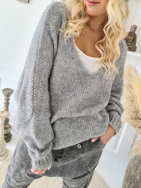 Gray Shift V Neck Long Sleeve Sweater