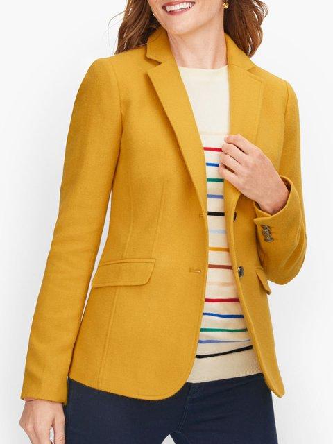 Yellow Casual Lapel Plain Shift Outerwear