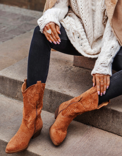 Brown Winter Daily Leather Block Heel Boots