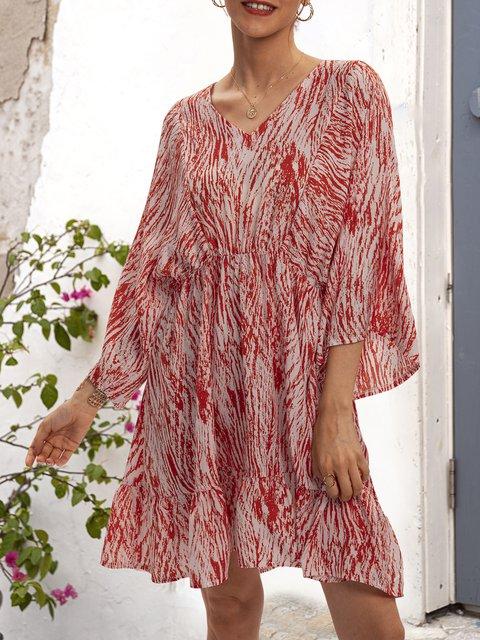 Red Casual V Neck Geometric Dresses