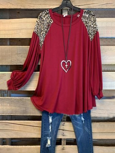 Red Crew Neck Long Sleeve Shirts & Tops