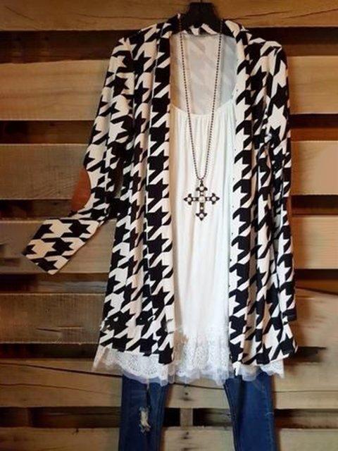 White-Black Cotton-Blend Casual Outerwear