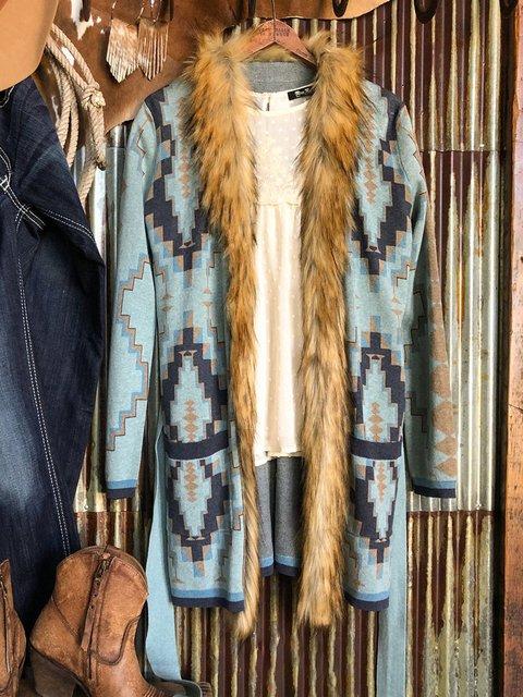 Blue Geometric Ethnic Outerwear