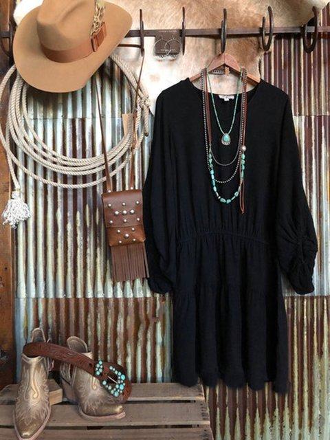 Black Long Sleeve Plain Dresses