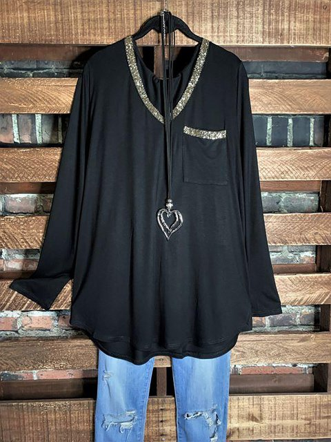 V-Neck Gold Edge Long Sleeve Black Shirt