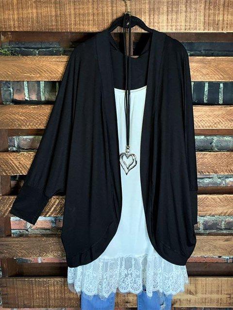 Black Casual Cardigan Tops