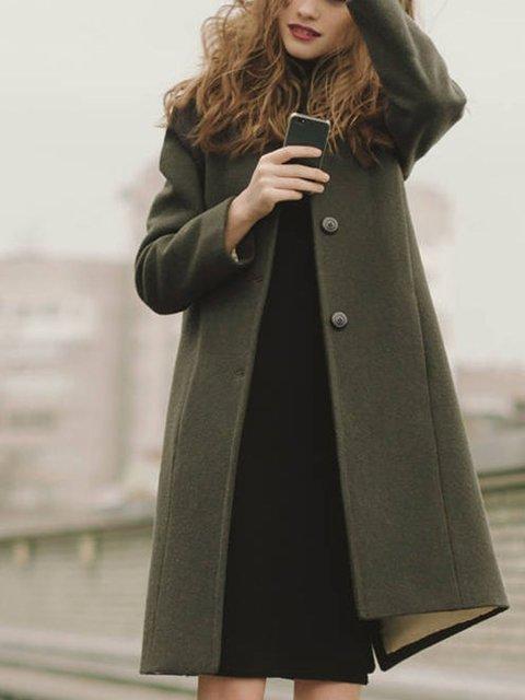 Vintage British style collarless woolen green coat