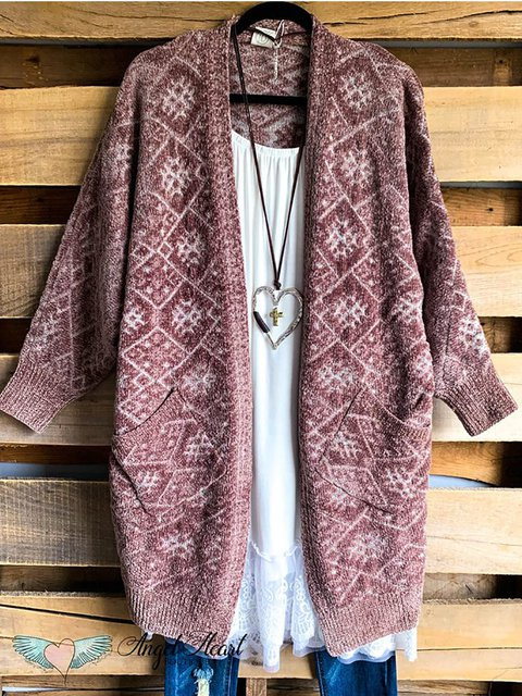 Casual Jacquard Pocket Knitted Sweater Cardigan