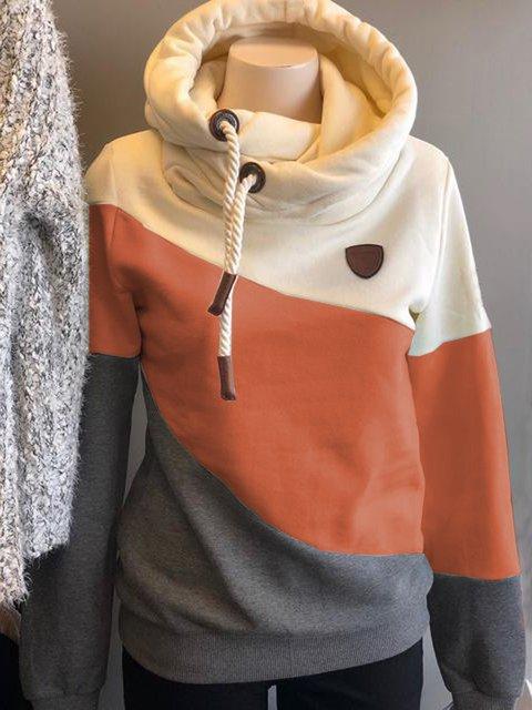 Orange Casual Shift Drawstring Color Block Sweatshirt