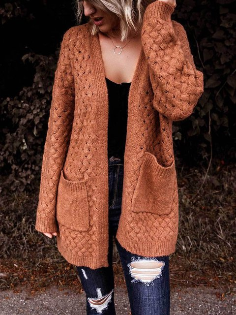 Hollow Out Solid Color Long Sleeve Cardigan Coat