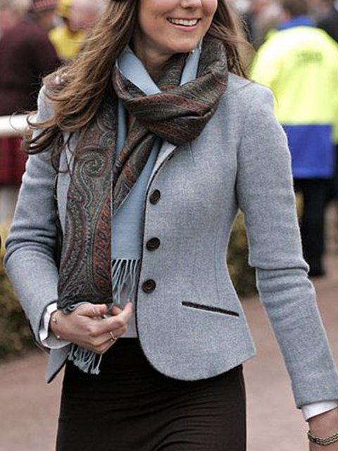 Blue Shawl Collar Plain A-Line Vintage Outerwear