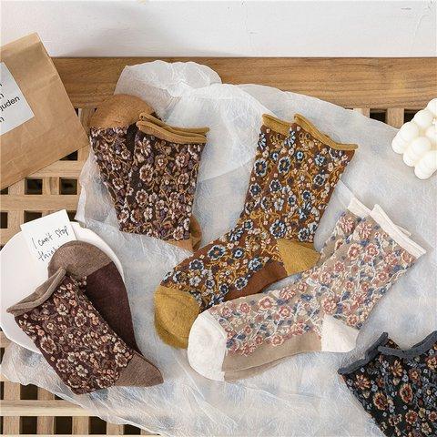 Women Casual Cotton Floral Socks