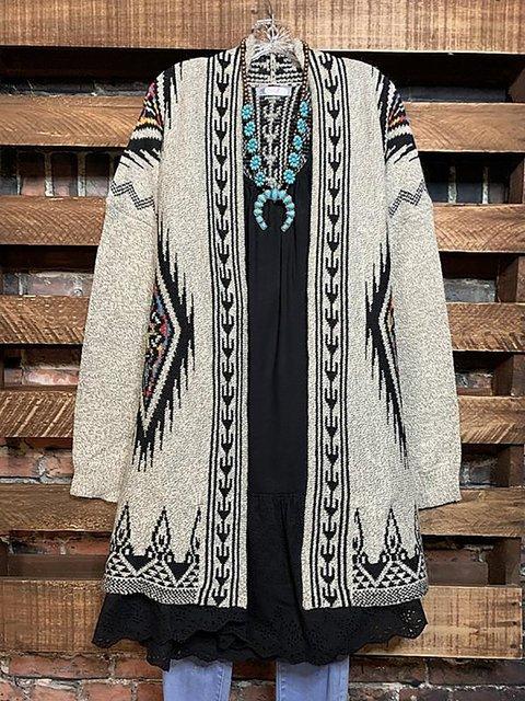 Ethnic Print Loose Knit Cardigan Sweater Coat