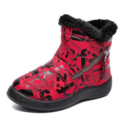 Winter Pu Printed Boots