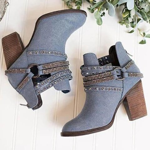 Cloth Rivet Winter Boots