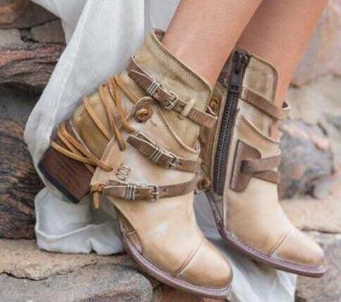 Casual Buckle Block Heel Boots