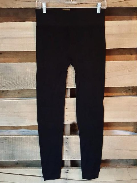 Black Casual Plain Cotton-Blend Pants