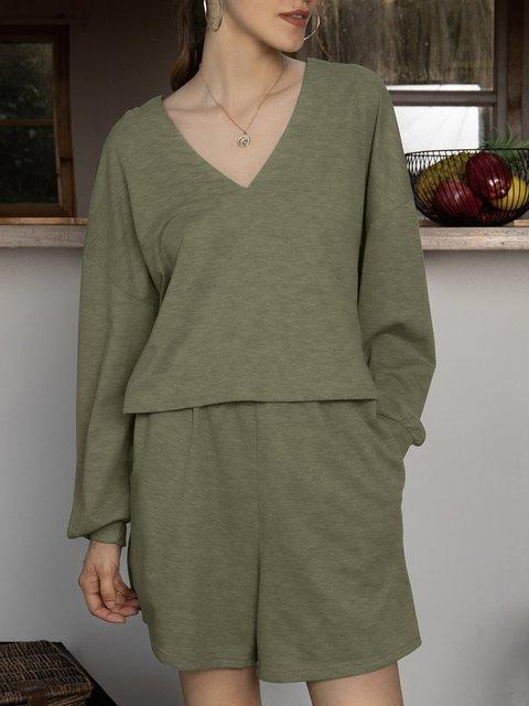 Green Shift V Neck Casual Plain Suits