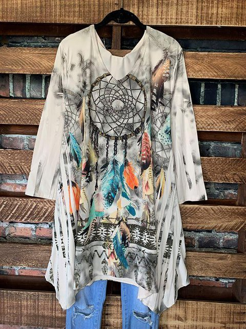 Mystic Free Spirit Dreamcatcher Tunic Long Tops